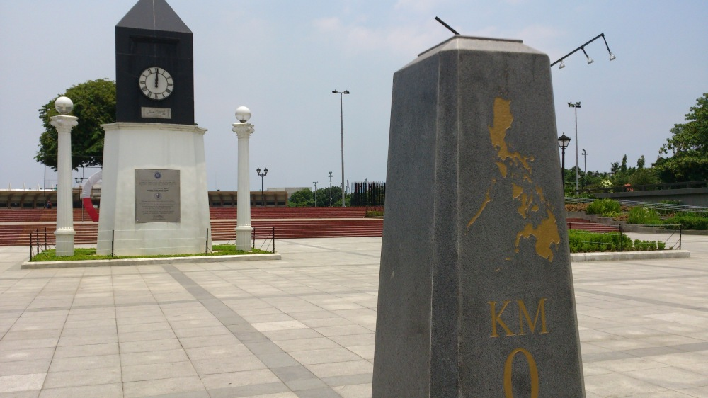 Kilometer Zero is right across the street of the Rizal Monument along Roxas Blvd.